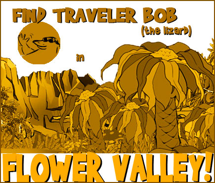 Traveler-Bob-the-lizard-in-flower-valley